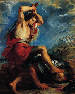 David Slaying Goliath (circa 1616) by baroque painter Peter Paul Rubens, on biblical story of David and Goliath