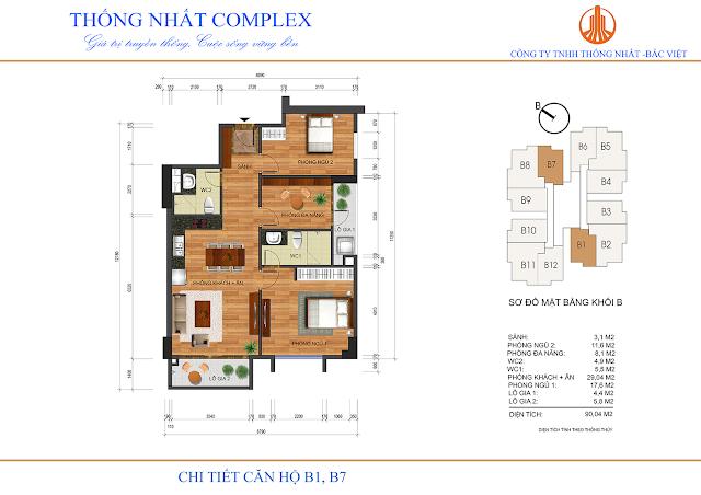 Thiết kế căn B1-B7 tòa B chung cư Thống Nhất Complex