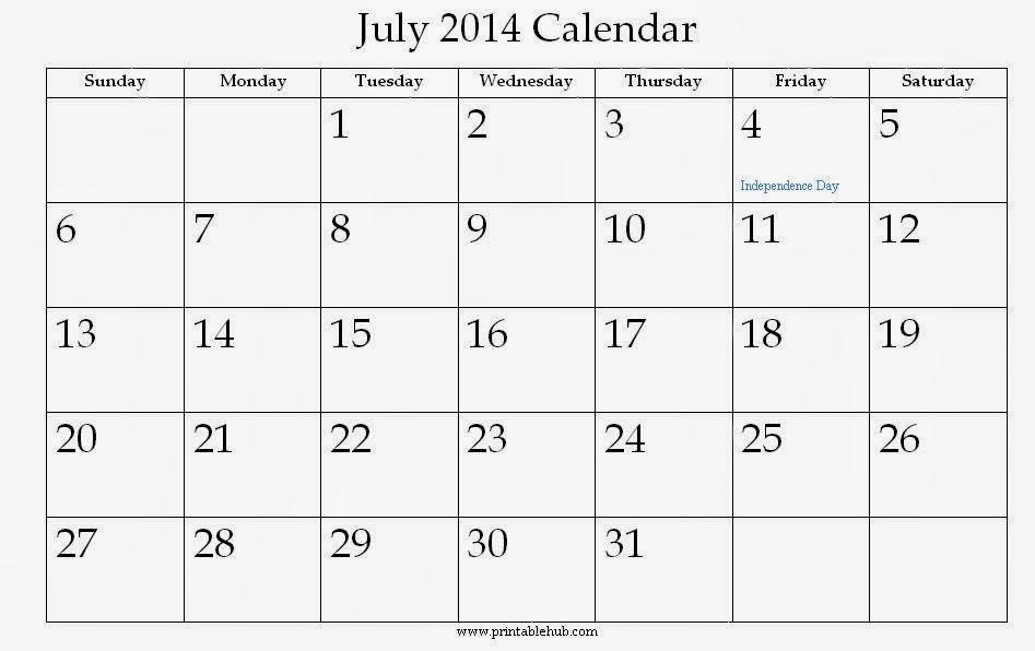 July 2014 Calendar Printable - Printable Calendar 2014, Blank