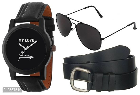 Wrist Watch With Belt & Aviator Glasses For Men