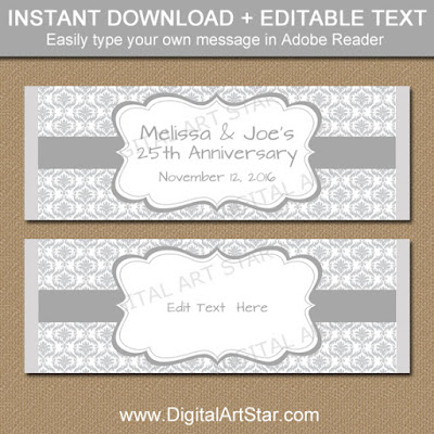 silver damask candy bar wrappers