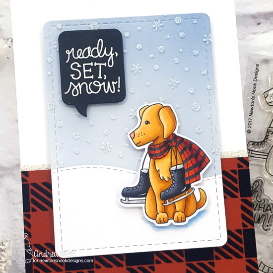 Ready, Set, Snow Card by Andrea Shell | Winter Woofs Stamp Set, Gingham Stencil, Petite Snow Stencil, Speech Bubbles Die Set by Newton's Nook Designs #newtonsnook #handmade