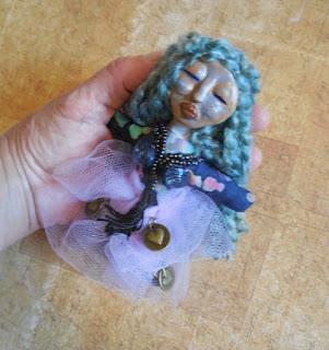 Blue Haired Goddess OOAK Miniature Folk Art Spirit Doll