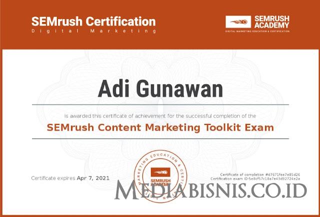 Jawaban SEMrush Content Marketing Toolkit Certification