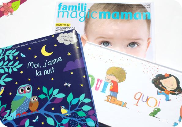 Les deux albums gagnants du prix famili magicmaman 2016 :  Moi, j'aime la nuit & Qui, quoi où