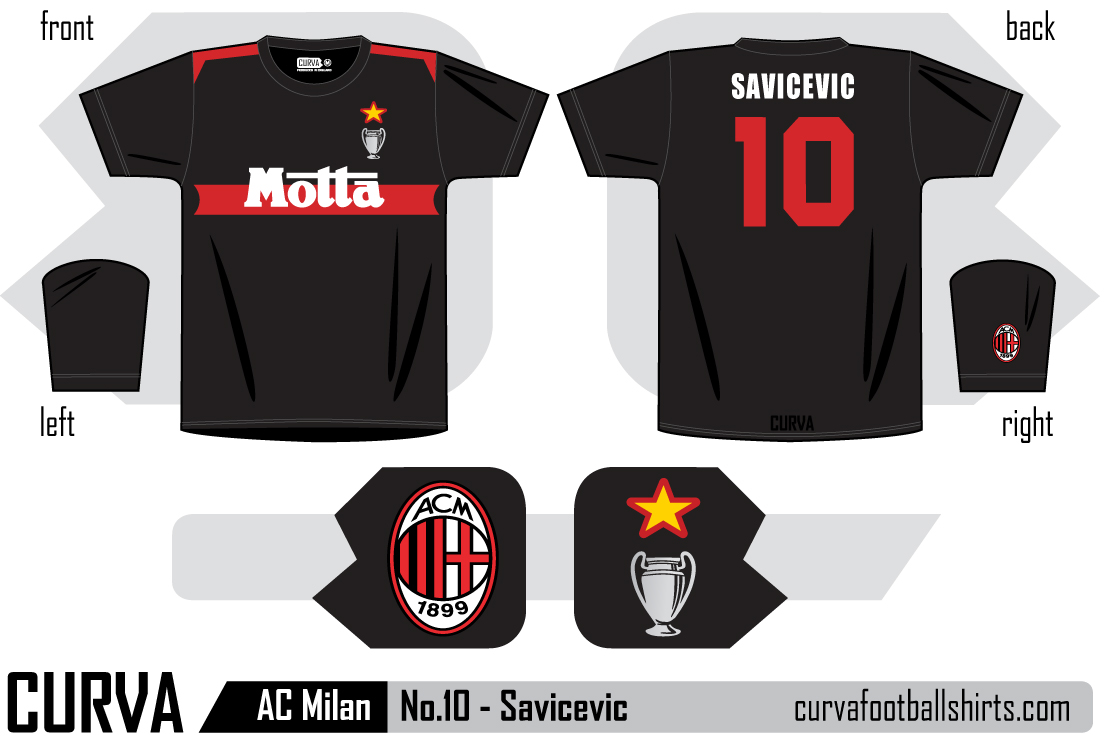9b66a7329 AC Milan 1994 - No.10 Savicevic. This shirt is available to ...