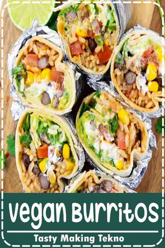 This vegan burrito is stuffed with brown rice, black beans, corn, vegan sour cream, and guacamole. Vegan burritos are the perfect comfort food. And they're so easy to make! Make them for a simple weeknight dinner.