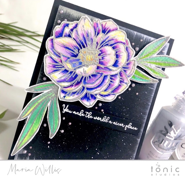 #cardbomb, #mariawillis, #tonicstudios, #tonicstudiosusa, #nuvo, #tonicstudiosgardenparty, #nuvodreamdrops, #nuvoembellishmentmousse, #stamps, #ink, #paper, #handmade, #handmadecards, #art, #create, #craft, #color, #watercolor, #cow, #flower,