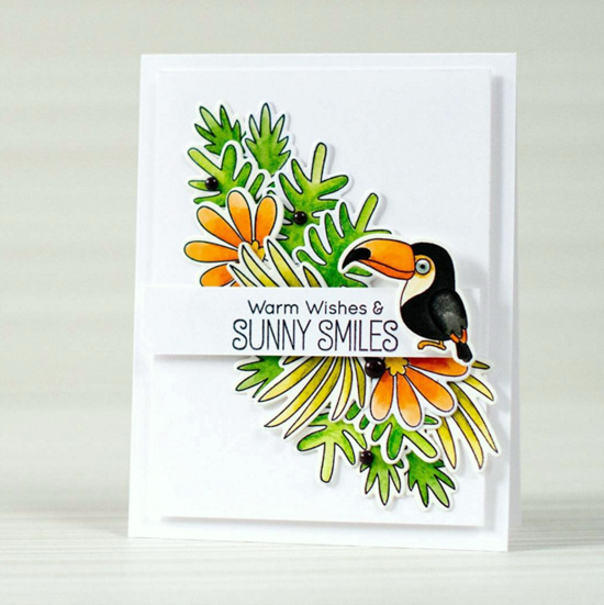 Blissful Blooms and Birdie Brown Polynesian Paradise stamp sets and Die-namics - Victoriya Salmina #mftstamps