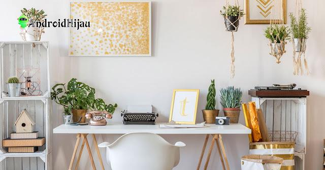 Inspirasi desain ruang kerja rumah dengan tanaman hijau