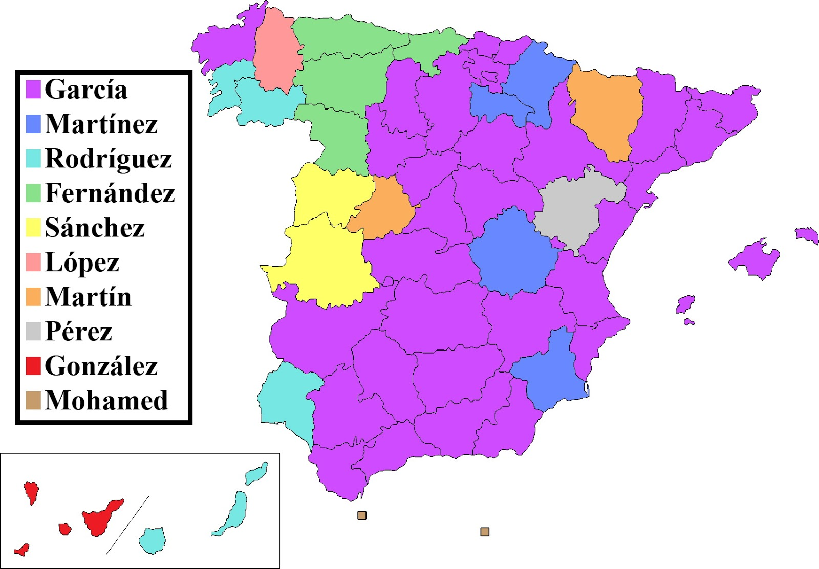 Most popular Spanish surnames by Province of Residence