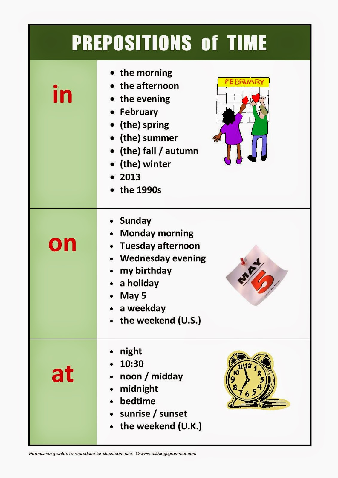 Preposition Time Practice Worksheet