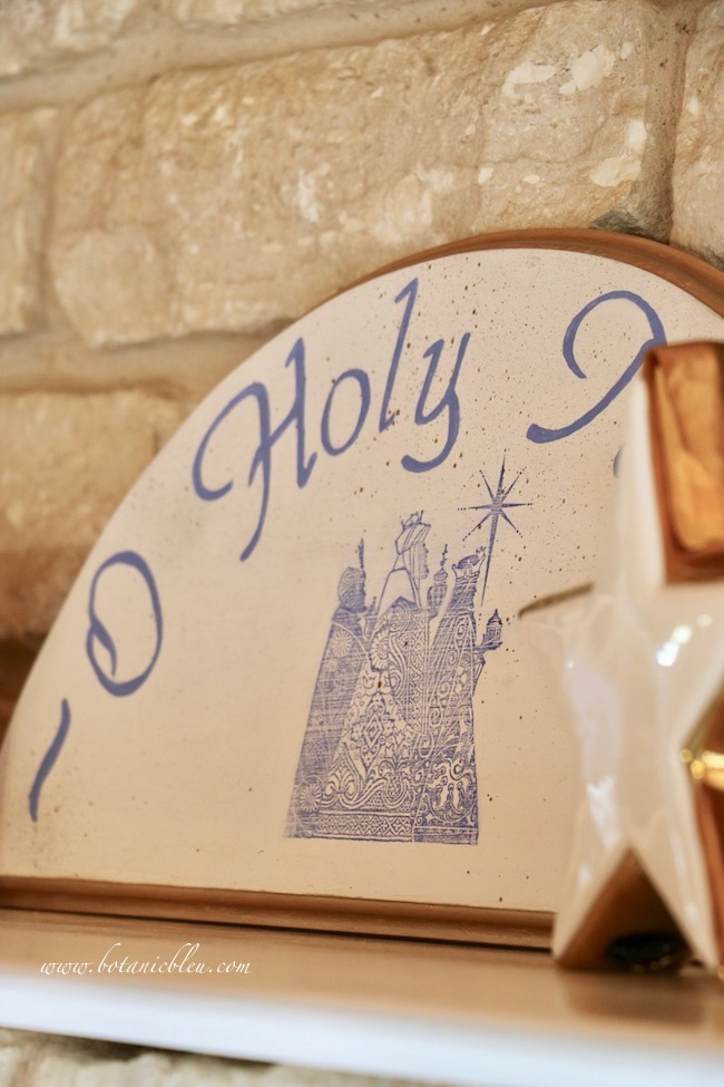 Blue O Holy Night shelf decor's centerpiece is a handmade blue and white wood sign of the three wisemen