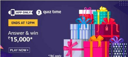 Amazon Quiz 16 July 2020 Answers – Win ₹15,000