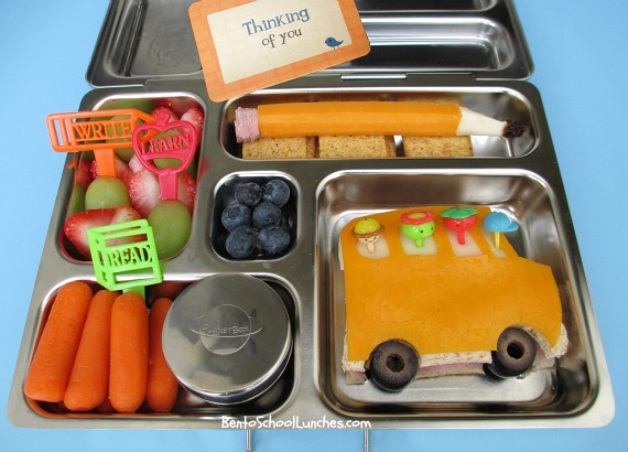 Back To School Bus and Pencil Bento Lunch