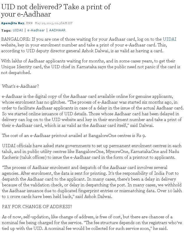 Aadhar Card Registration Bangalore - Aadhar In