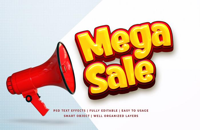 Mega Sale Text Effect Psd Template Mockup