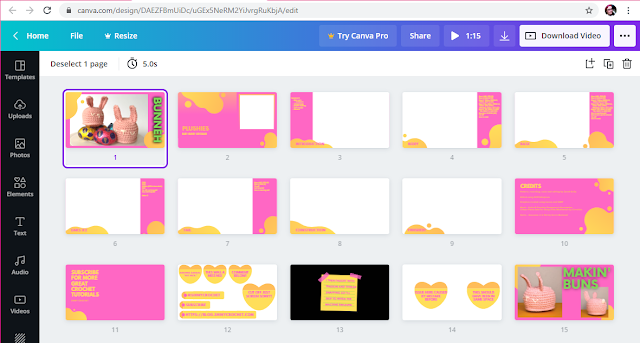 A screenshot of a browser at website Canva, showing the thumbnails used in the video, such as Introduction, Body, Ears, Construction, etc. The colours are all themed to pink and yellow.