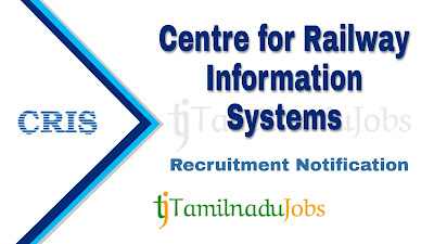 CRIS Recruitment notification 2019, govt jobs for BE, govt jobs for MCA, central govt jobs