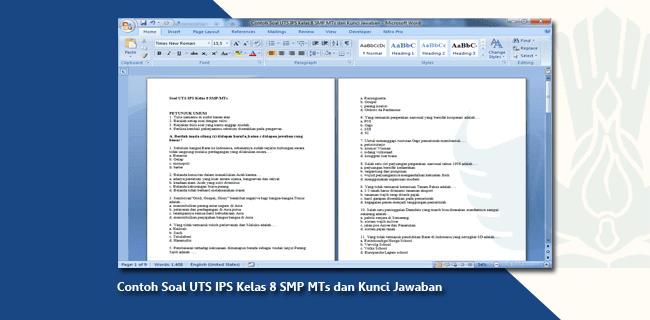 Contoh Soal UTS IPS Kelas 8 SMP MTs dan Kunci Jawaban
