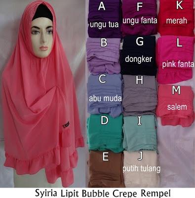 Model Jilbab Terbaru Syiria Bubble Crepe Rempel
