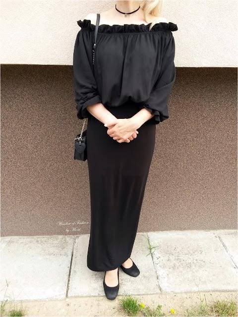 Czarna bluzka hiszpanka Grace Karin, czarna spódnica maxi, czarme czółenka na obcasie, czarna torebka na łańcuszku House, czarny choker z gwiazdką H&M