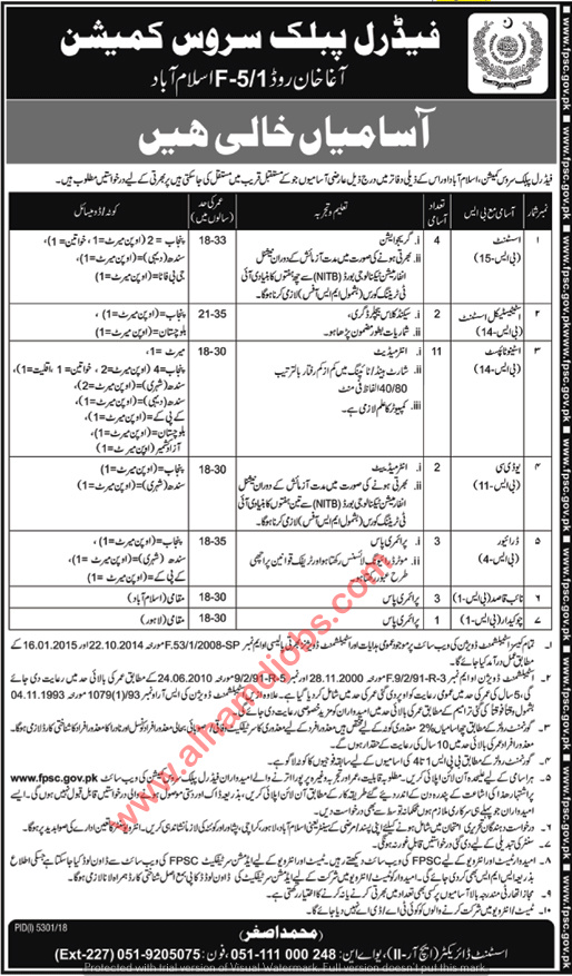 Jobs in Federal Public Service Commission Friday Express Newspaper