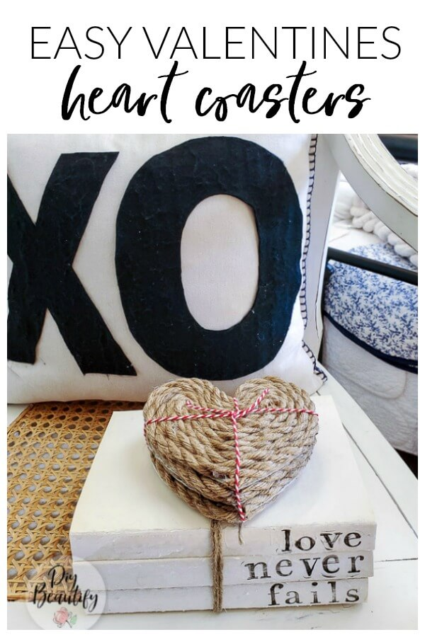 Valentines heart shaped coasters made from rope