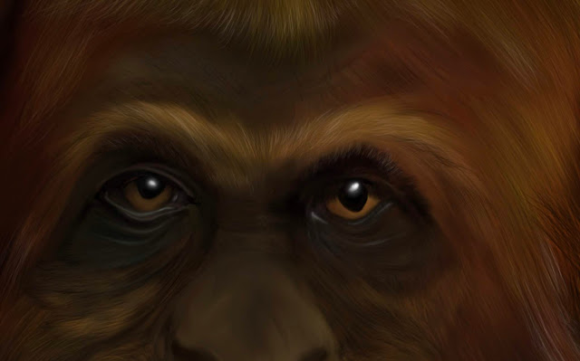 finding human by Mark Taylor, Bigfoot art, Sasquatch, work in progress,