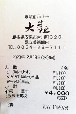 足立美術館 喫茶室 大観 2020/2/19 飲食のレシート