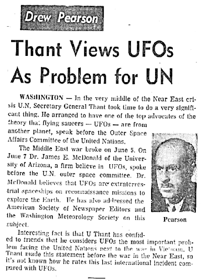 Thant Views UFOs As Problem For UN - Post Standard (Syracuse, NY) 6-27-1967
