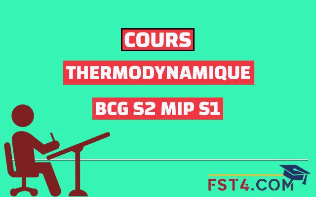 COURS THERMODYNAMIQUE BCG MIP PDF