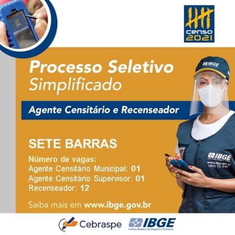 Últimos dias de inscrição: IBGE abre 14 vagas temporárias para trabalhar no Censo 2021 em Sete Barras