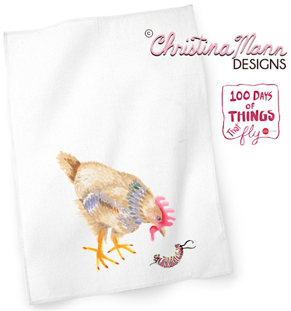 Chicken eyeing Caterpillar Tea Towel by Christina Mann Designs