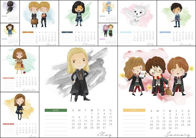 Harry Potter 2019: Calendario  para Imprimir Gratis.