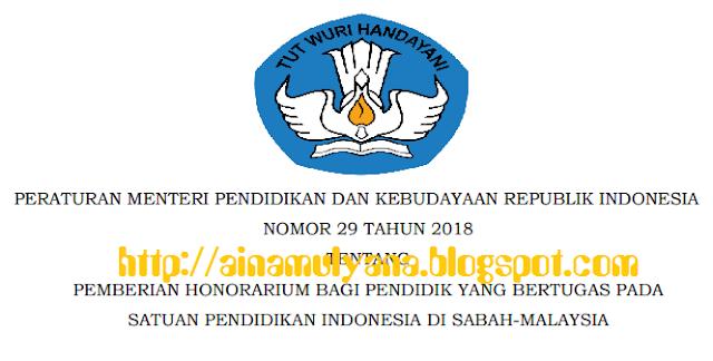 Tentang Pemberian Honorarium Bagi Pendidik Yang Bertugas Pada Satuan Pendidikan Indonesia TERLENGKAP PERMENDIKBUD NOMOR 29 TAHUN 2018 TENTANG PEMBERIAN HONORARIUM BAGI PENDIDIK YANG BERTUGAS PADA SATUAN PENDIDIKAN INDONESIA DI SABAH-MALAYSIA