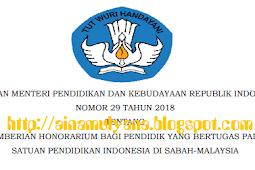 Permendikbud No 29 [Tahun] 2018 (Tentang) PEMBERIAN HONORARIUM bagi PENDIDIK yang BERTUGAS Pada SATUAN Pendidikan Indonesia di SABAH-MALAYSIA