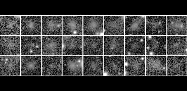 A gallery of several ultra-diffuse galaxies discovered in the Perseus galaxy cluster. These objects are barely visible against the background. Diffuse bright spots are foreground stars in the Milky Way. Credit: Carolin Wittmann (ZAH).