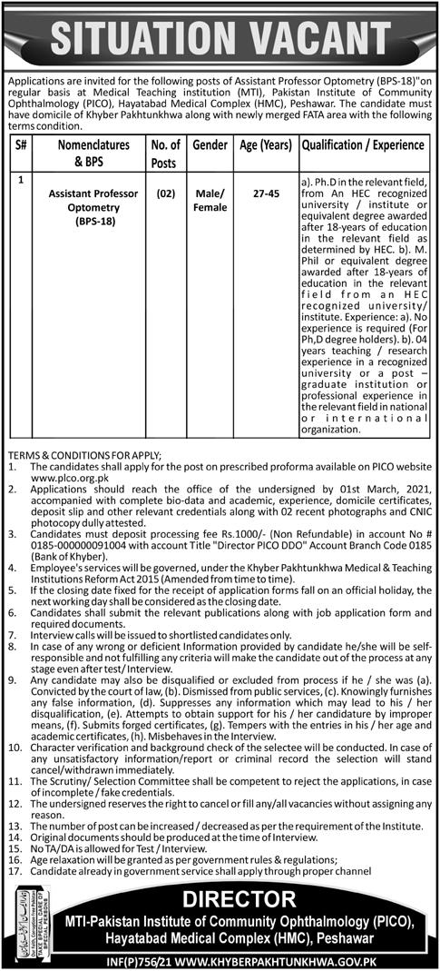 Pakistan Institute of Community Ophthalmology PICO Jobs 2021 in Peshawar KPK