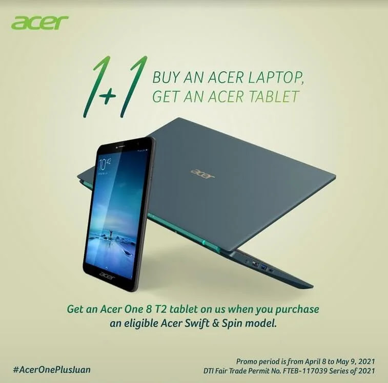 Free Acer One 8 T2 Tablet for every Purchase of Acer Swift or Acer Spin Laptop!