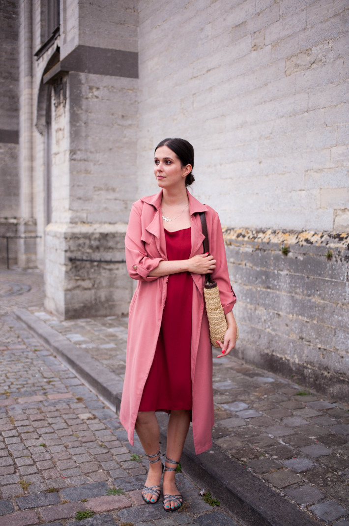 red Closet London La Dolce Vita dress, pink trench coat