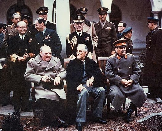 Fellow 33rd degree Masons, Winston Churchill, Franklin D. Roosevelt and Joseph Stalin, at the Yalta Conference in Potsdam, Germany in 1945