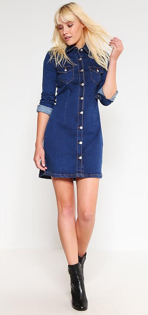 Robe chemise courte en jean bleu mbyM