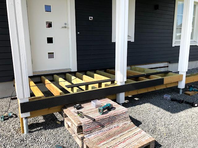 terassi, terassin rakentaminen, ulko-ovi, koolaus, komposiitti, askelmat, rappuset, runko, rakenne, rakentaminen