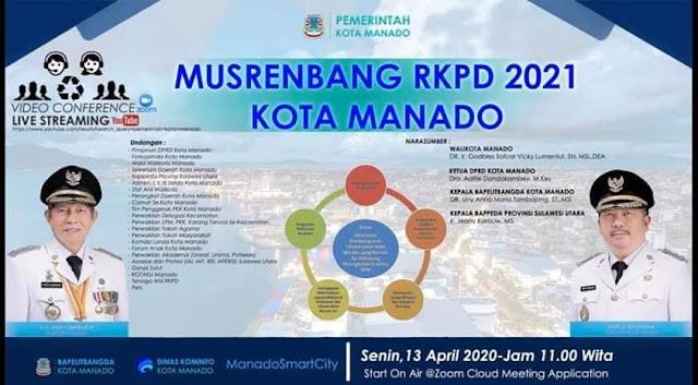 Gelar Musrenbang Kota Manado lewat Video Conference, Walikota Apresiasi Bapelitbangda sebagai penyelenggara