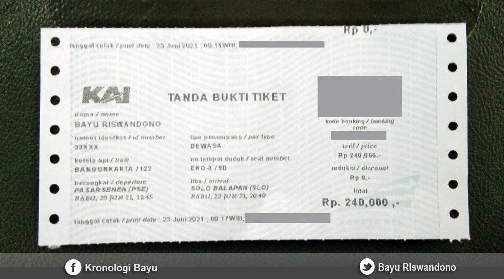 Foto Tanda Bukti Tiket Kereta Api Bangunkarta, Pengalaman Naik Kereta Api Bangunkarta Pasar Senen Jakarta ke Stasiun Balapan Solo