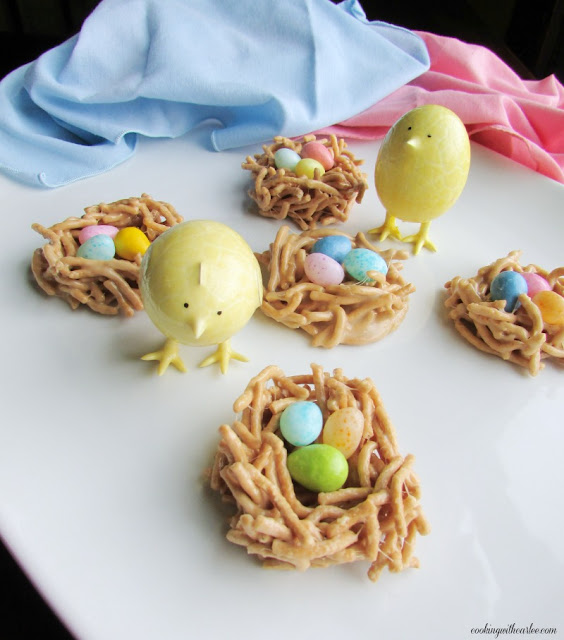 chow mein noodle nests with candy eggs and toy chicks