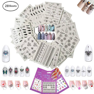 28 Sheets Different Design Self-adhesive Tip Nail Art Stickers Decals