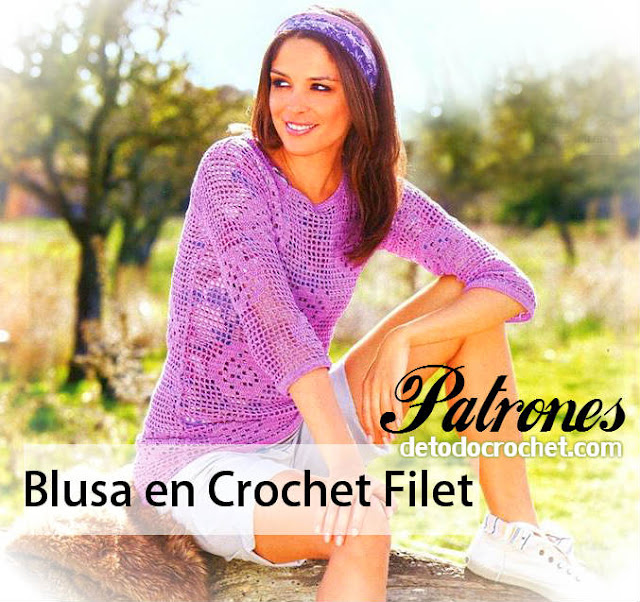 como tejer blusa en crochet filet