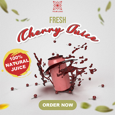 Cherries product banner psd